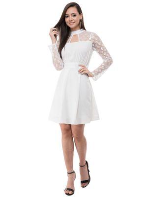 Women's Crepe Off White Pleated Mini Dress