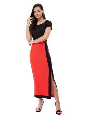 Women's Crepe Black Body Con Knee Long Dress