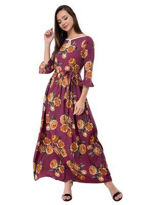 Women's Crepe Brown Printed Maxi Dress