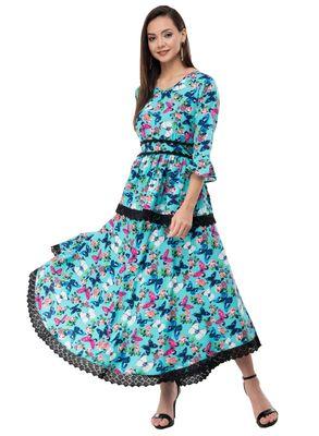 Women's Crepe Turquoise Printed Maxi Dress