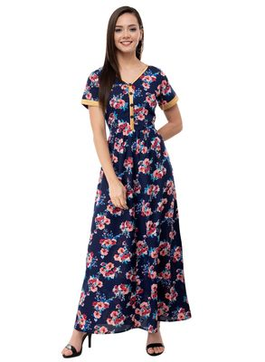 Women's Crepe Navy Blue Printed Maxi Dress
