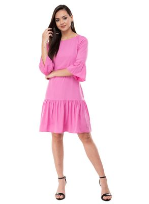 Women's Crepe Pink Flared Mini Dress