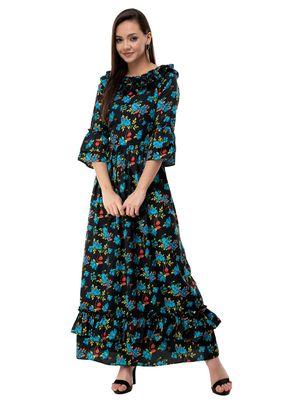 Women's Crepe Black Printed Maxi Dress