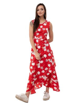 Women's Crepe Red Printed Maxi Dress