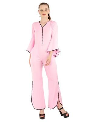 Women's Crepe Pink Casual Jumpsuit
