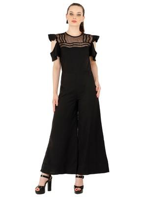 Women's Crepe Black Casual Jumpsuit