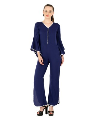 Women's Crepe Navy Blue Casual Jumpsuit