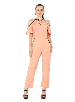 Women's Crepe Orange Casual Jumpsuit