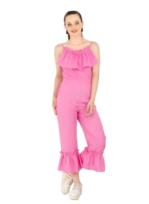 Women's Crepe Dark Pink Casual Jumpsuit