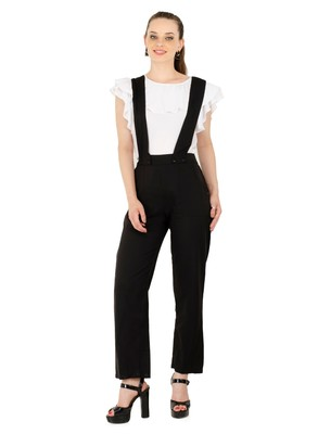 Women's Crepe Off White with Blue Casual Jumpsuit