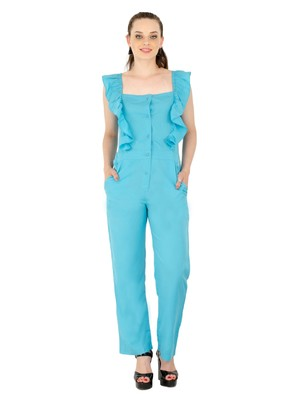 Women's Crepe Blue Casual Jumpsuit