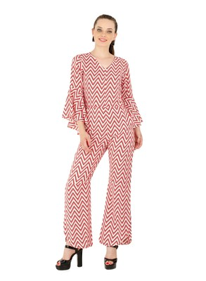 Women's Crepe Multi-Coloured Casual Jumpsuit