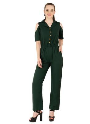 Women's Crepe Green Casual Jumpsuit