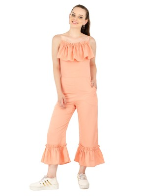Women's Crepe Peach Casual Jumpsuit