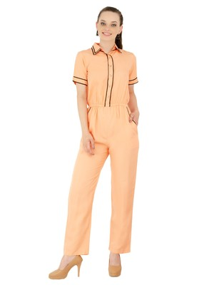Women's Crepe Peach Casual Jumpsuit