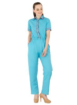 Women's Crepe Blue Casual Jumpsuit