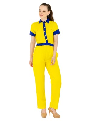 Women's Crepe Yellow Casual Jumpsuit