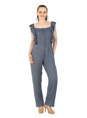 Women's Rayon Grey Casual Jumpsuit