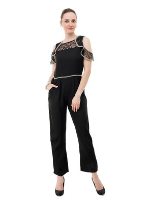 Women's Crepe Black Full Leg Jumpsuit