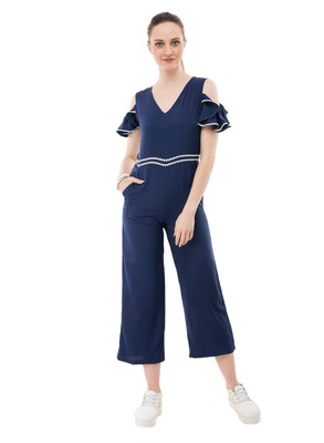 Women's Crepe Blue Full Leg Jumpsuit