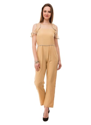 Women's Crepe Beige Full Leg Jumpsuit