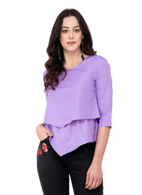 Purple plain crepe tops