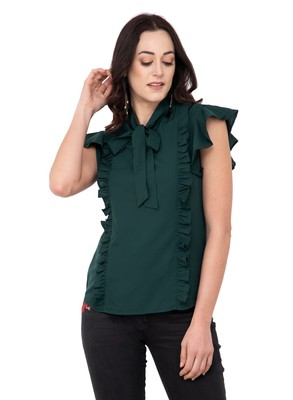 Green plain crepe tops