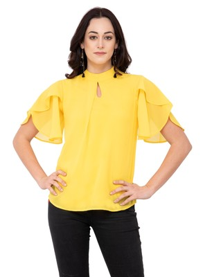 Yellow plain georgette tops