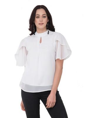 White plain georgette tops