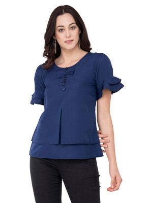 Blue plain crepe tops