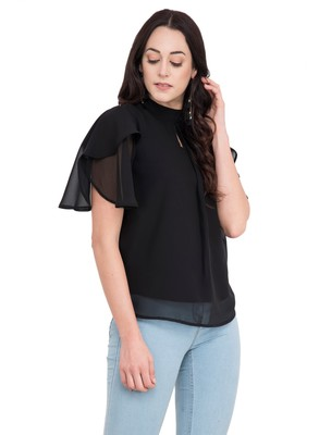 Black plain georgette tops