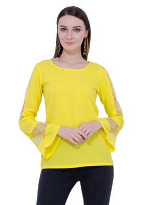 Yellow plain Crepe tops
