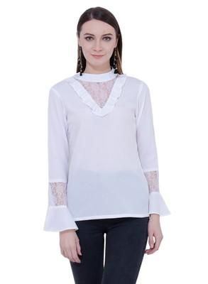 White plain Crepe tops