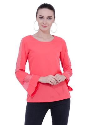 Pink plain Crepe tops