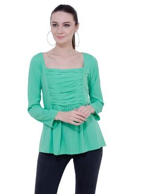 Green plain Crepe tops
