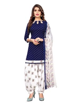 Royal-Blue Printed Crepe Salwar