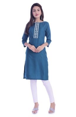 Blue Color Rayon Fabric Short Kurti