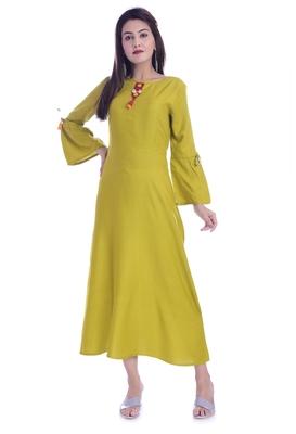 Light Green Color Rayon Fabric A-Line Kurti