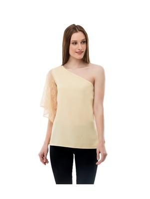 Women's  Crepe Net Beige Casual Top