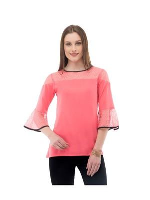 Women's  Crepe Net Pink Casual Top