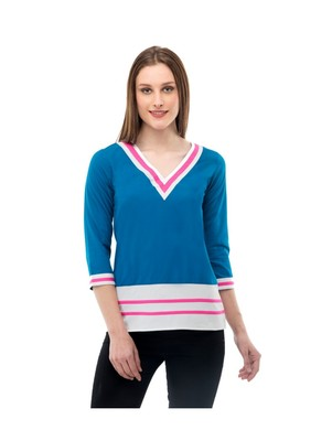 Women's Crepe Blue Casual Top