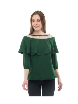 Women's Crepe Net Green Casual Top