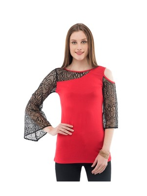 Women's Viscose Red Casual Top