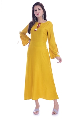 Mustard Color Rayon Fabric A-Line Kurti