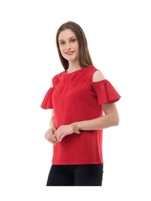Women's Crepe Red Casual Top