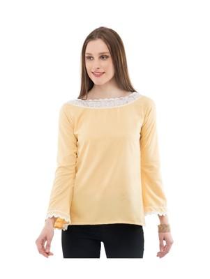 Women's Crepe Net Yellow Casual Top