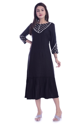 Black Color Rayon Fabric Straight Kurti