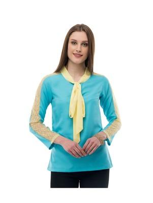 Women's Crepe Net Blue Casual Top