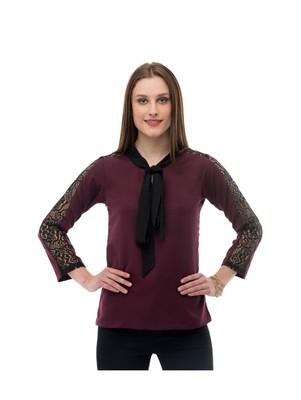 Women's Crepe Net Brown Casual Top
