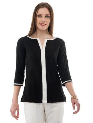 Women's Crepe Black Casual Top